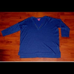 SUNNY LEIGH Shimmering Royal Blue Tunic - NWOT